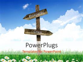 PowerPlugs: PowerPoint template with road signs of prosperity and crisis against blue sky