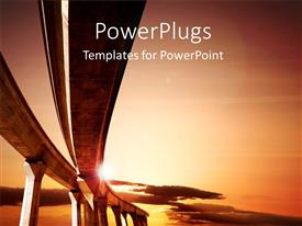 PowerPoint template displaying road to success - elevated roadway at sunset