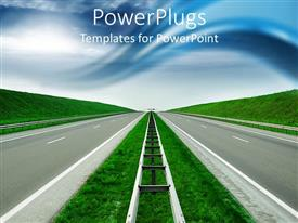 PowerPoint template displaying road to success  blue sky  green hills empty high way divider