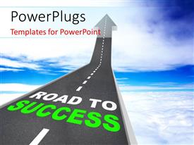 PowerPoint template displaying road to Success, Words on Arrow Going Up
