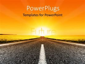 PowerPlugs: PowerPoint template with a road with a sun in the background and place for text