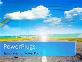 PowerPlugs: PowerPoint template with road through green field with rainbow in blue cloudy sky