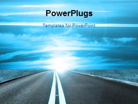 PowerPlugs: PowerPoint template with a road towards the light and bluish background
