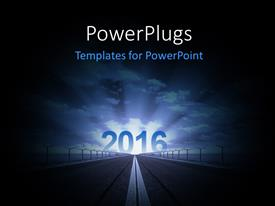 PowerPlugs: PowerPoint template with road to year 2016 rising with glow and clouds in the background