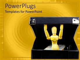 Slide deck with robot-like mannequin inside a black box in yellow background