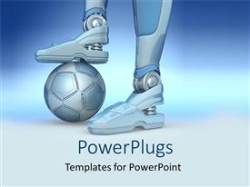PowerPoint template displaying a robot with football under its feet with bluish background