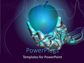 PowerPoint template displaying robot hand holds neon apple symbolizing new technologies