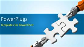 PowerPoint template displaying robot holding jigsaw puzzle piece on a blue background