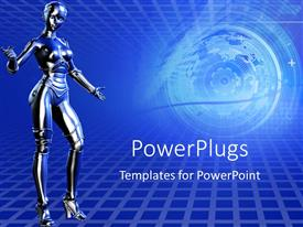 PowerPlugs: PowerPoint template with robot presenting blue technical background and lens