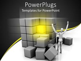 PowerPoint template displaying robot raises hands in victory for discovery of glowing yellow cube
