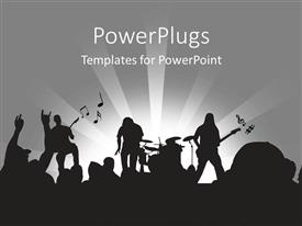 PowerPlugs: PowerPoint template with rock band playing on-stage in concert