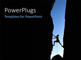 PowerPoint template displaying rock climber silhouetted between two cliff faces