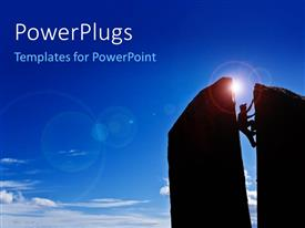 PowerPlugs: PowerPoint template with rock climber squeezes his body between a gap in the summit of a split spire with lens flare