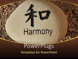 PowerPlugs: PowerPoint template with a rock with the word harmony and sand in the background