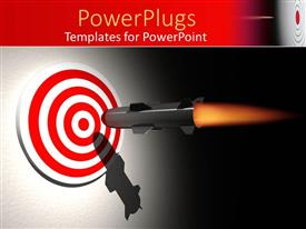 PowerPoint template displaying rocket aiming the center of a bullseye target on gradient gray and black background