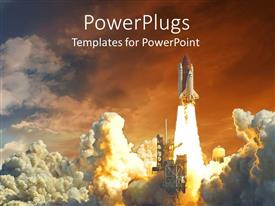 PowerPoint template displaying rocket launching with so much white smoke all around