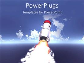 PowerPlugs: PowerPoint template with rocket launching toward blue sky with clouds, blastoff, astronomy, spaceship