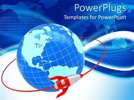 PowerPoint template displaying rocket orbiting Earth globe, flat world map background, binary code