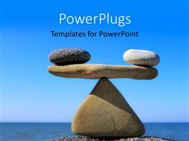 PowerPlugs: PowerPoint template with rocks balanced in scales arrangement on beach