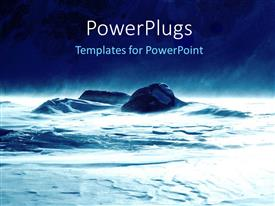 PowerPlugs: PowerPoint template with rocks in the ocean along with a thunderstorm