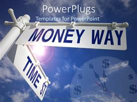 PowerPlugs: PowerPoint template with a rod with a number of signs and clouds in the background
