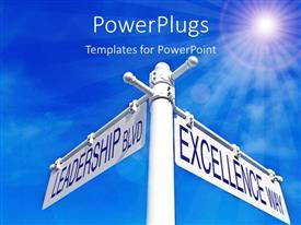 PowerPlugs: PowerPoint template with a rod with the options of leadership and excellence