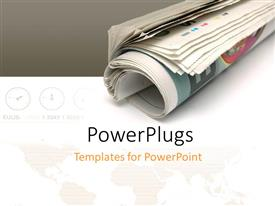 PowerPlugs: PowerPoint template with roll of newspaper over white and grey background with world map and different zone clocks