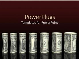 PowerPlugs: PowerPoint template with rolled money stacks chart of 1 dollar bills on black background
