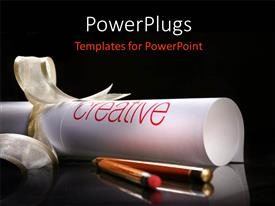 PowerPoint template displaying rolled piece of paper tied with gold ribbons and pencils