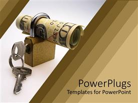PowerPoint template displaying rolled ten dollar bill locked with padlock and key