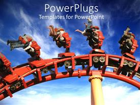 PowerPlugs: PowerPoint template with roller coaster with people upside down