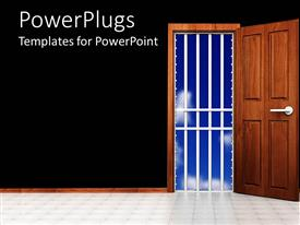 PowerPlugs: PowerPoint template with room with open door, behind them a prison cage and summer sky