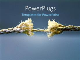 PowerPlugs: PowerPoint template with rope at breaking point over blue background