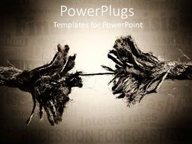 PowerPlugs: PowerPoint template with rope breaking in two pieces, financial crisis metaphor