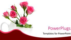 PowerPoint template displaying a bunch of pink colored flowers in a white cup
