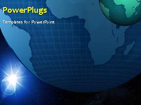 PowerPlugs: PowerPoint template with rotating earth with blue and black color