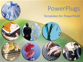 PowerPlugs: PowerPoint template with round collage showing business depictions on globe