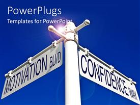 PowerPlugs: PowerPoint template with round glow on blue surface with sign post to motivation and confidence