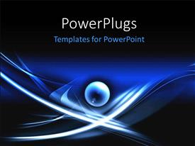 PowerPlugs: PowerPoint template with round glowing sphere on abstract dark blue background with white lines