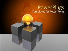 PowerPlugs: PowerPoint template with round glowing yellow ball sits on four support pillars