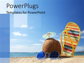 PowerPoint template displaying round sunglasses with blue lens, coconut drink with umbrella and yellow with colorful stripes slipper in the sand on the beach and sea with light blue sky background