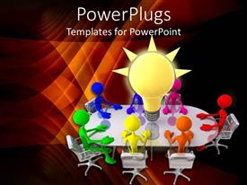 PowerPlugs: PowerPoint template with round table business meeting with light bulb glowing on table