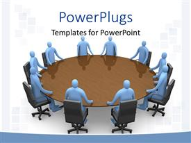 PowerPlugs: PowerPoint template with a round table conference going on in an office with clear background