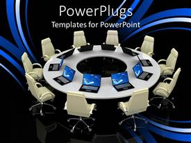 PowerPoint template displaying round table with office chairs and open laptops on abstract background