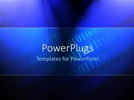 PowerPlugs: PowerPoint template with row of binary digits on blue background with light glow