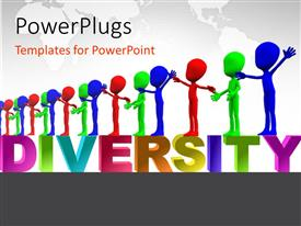 PowerPlugs: PowerPoint template with row of colorful figures representing multiculturalism and diversity