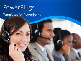 PowerPlugs: PowerPoint template with row of customer support representatives with headphone and microphone