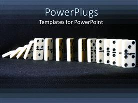 PowerPlugs: PowerPoint template with row of falling dominoes on gray background