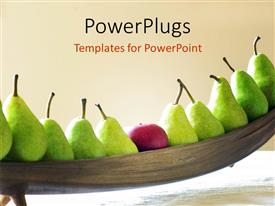 PowerPlugs: PowerPoint template with a row of fresh fruits of pear and a red apple
