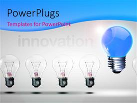 PowerPlugs: PowerPoint template with distinct blue light bulb stands out from others depicting innovation